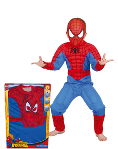 Muscular Spiderman costume for a child in a box