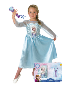 Girls Elsa Frozen Costume with Microphone in Box